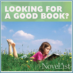 NoveList logo with a girl reading book in the grass.
