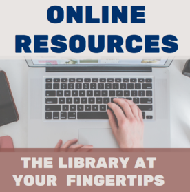 Online Resources, Keyboard closeup with someone typing, The Library at your fingertips.